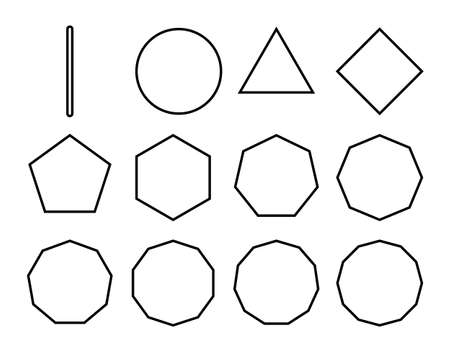 Line drawing set of polygon shapes with different sides, various pattern shapes with isolated white background.