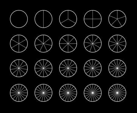 Segmented circles set isolated on a black background. Various number of sectors divide the circle on equal parts. White thin outline graphics