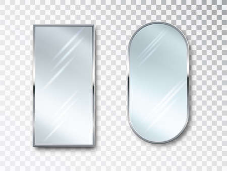 Mirrors set isolated. Metal frames for decor. Realistic 3D design.