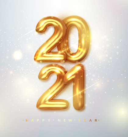 2021 Happy new year. Happy New Year Banner with gold metallic numbers date 2021. Vector illustration