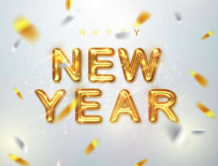 Happy New Year. Holiday vector illustration of golden metallic inscription Happy New Year . Realistic 3d sign. Happy New year celebration.