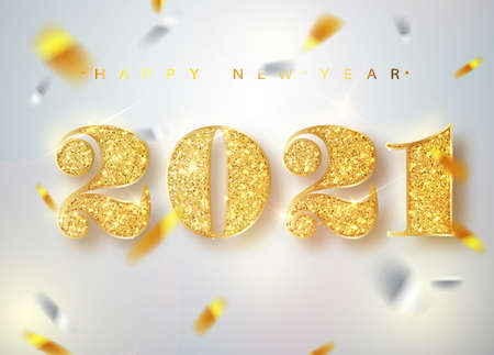 2021 Happy new year. Gold Numbers Design of greeting card of Falling Shiny Confetti. Gold Shining Pattern. Happy New Year Banner with 2021 Numbers on Bright Background. Vector illustration.