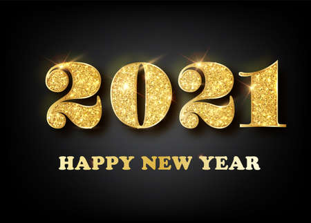 2021 Happy new year. Gold Numbers Design of greeting card. Gold Shining Pattern. Happy New Year Banner with 2021 Numbers on Bright Background. Vector illustration. Ilustração