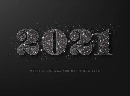 Black glitter 2021 on a black background. Happy New Year grating card Ilustração