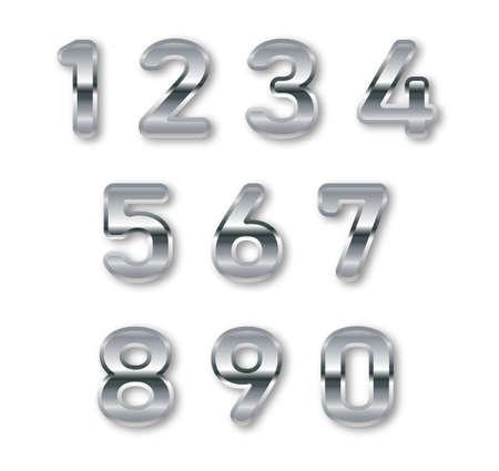 Silver numbers set. Digital metal gradient numbers.Vector numbers isolated.