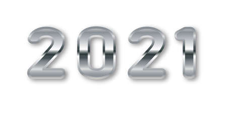 2021 Greeting Card with Silver Numbers. 2021 Silver numbers with a metallic gradient on a light.