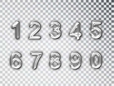 Silver numbers set isolated. Realistic Silver shiny 3d numbers with shadow. For decoration of cute wedding, anniversary party label.