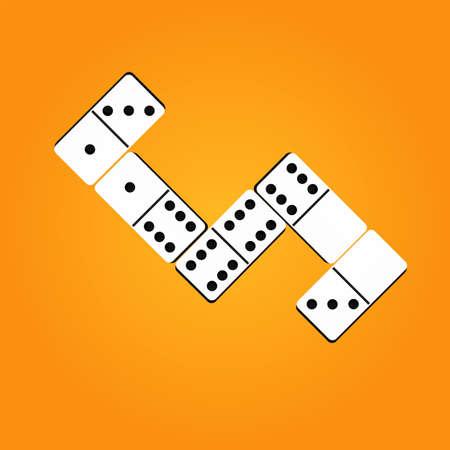 Creative vector illustration of realistic dominoes with on an orange background. Domino bone art design. Abstract concept . Vector illusration EPS 10 Ilustração