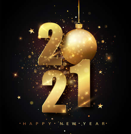 Happy New 2021 Year. Holiday vector illustration of golden metallic numbers 2021. Gold Numbers Design of greeting card of Falling Shiny Confetti. New Year and Christmas posters