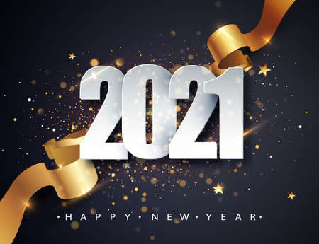 2021 Happy New Year vector background with golden gift ribbon, confetti, white numbers. Christmas celebrate design. Festive premium concept template for holiday.