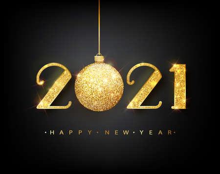 2021 Happy new year. Vector 2021 Happy New Year background with golden ball