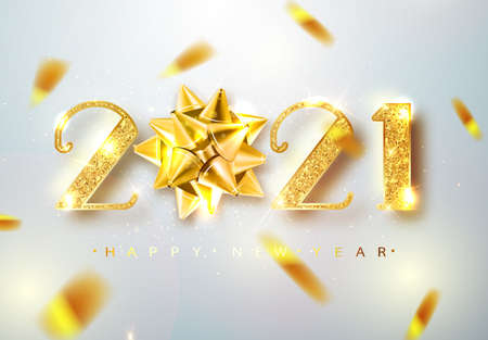 2021 Happy new year. Vector 2021 Happy New Year background with golden bow. Happy New Year Banner with 2021 Numbers on Bright Background Ilustração
