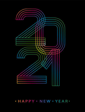 2021 Happy new year. Numbers minimalist style. Vector linear numbers. Design of greeting card. Vector illustration