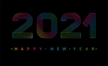2021 Happy new year. Numbers minimalist style. Vector linear numbers. Design of greeting card. Vector illustration. Ilustração