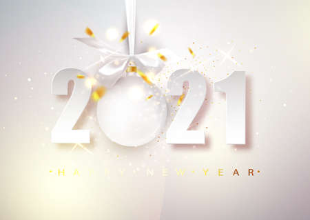 2021 vector Happy New Year. Bright Christmas banner with numbers and a hanging ball Ilustração
