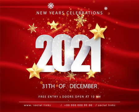 2021 Happy New Year Greeting Card with Confetti Frame on Red Background. Vector Illustration. Merry Christmas Flyer or Poster Design.