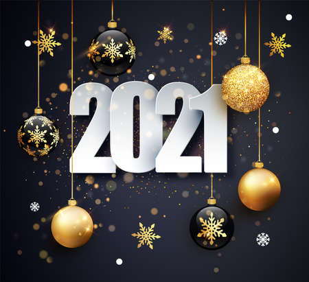 Happy New 2021 Year. Holiday vector illustration of numbers 2021. Gold Numbers Design of greeting card.