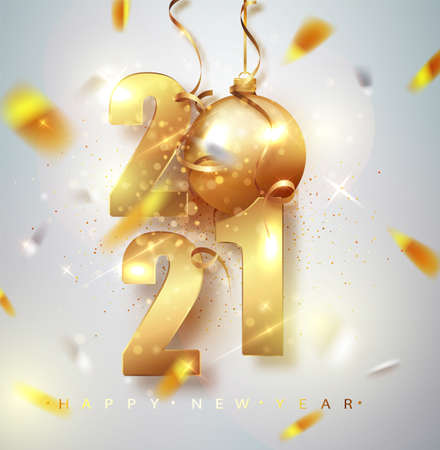 Happy New 2021 Year. Holiday vector illustration of golden metallic numbers 2021. Gold Numbers Design of greeting card of Falling Shiny Confetti. Ilustração