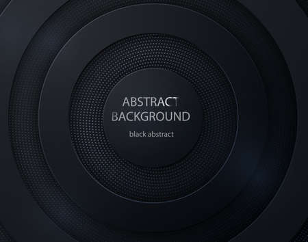 Black paper cut round background. Abstract 3d background with black paper layers.