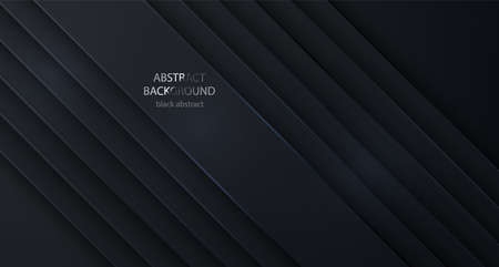 Black vector background abstract lines. Design geometrical black texture. Abstract 3d background with black paper layers.