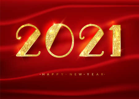 2021 Happy new year. Gold Numbers Design of greeting card on a red background. Gold Shining Pattern. Happy New Year Banner with 2021 Numbers on Bright Background. Vector illustration.