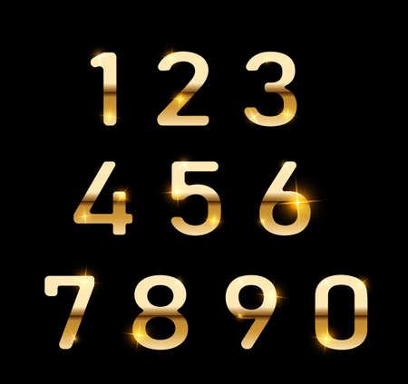 Gold numbers set. Digital metal gradient numbers.Vector numbers isolated