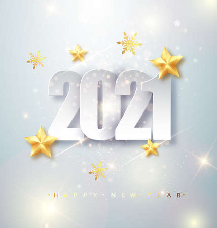 Happy New Year 2020 Greeting Card with Silver Numbers and Confetti Frame on White Background. Vector Illustration. Merry Christmas Flyer or Poster Design