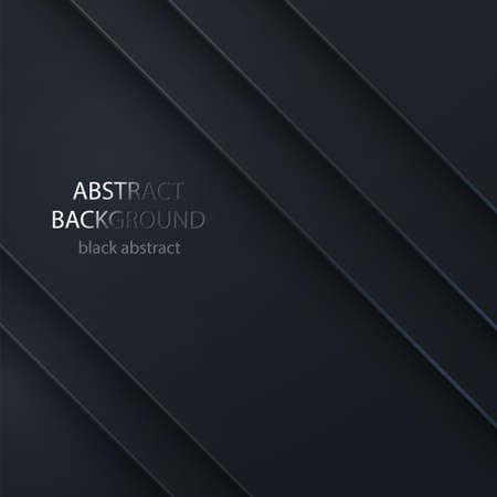 Black vector abstrac background. Background bright dark geometric design. Background for wide banner. Abstract Black background Ilustração