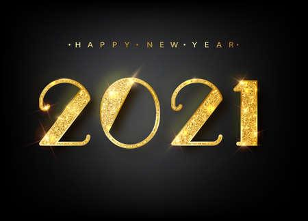 2021 Happy new year. Gold Numbers Design of greeting card. Happy New Year Banner with 2021. Numbers on Bright Background. Vector illustration Ilustração