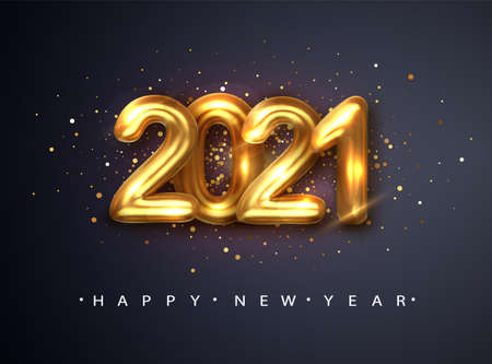 2021 Happy new year. Happy New Year Banner with gold metallic numbers date 2021. Dark background. Vector illustration.