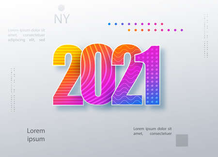 2021 Happy New Year colored logo text design. Cover of business diary for 2021 with wishes. Brochure design template, card, banner. Colorful vector illustration