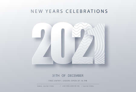 2021 Happy New Year. Paper 3d numbers on white abstract topography background. Vector holiday illustration. Festive event banner. Ilustração