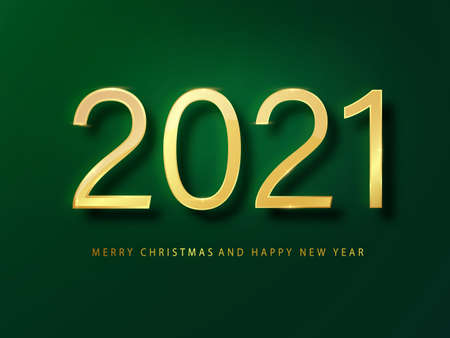 2021 Happy New Year greeting card gold and green background. Green New Year background. Cover of business diary for 2021 with wishes. Brochure design template, card, banner