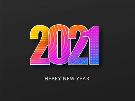 Happy new year 2021 cover. Abstract christmas card. Xmas new year card background. Happy new year 2021 text design vector. Paper art cover design. Ilustração
