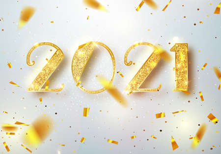 2021 Happy new year. Gold Numbers Design of greeting card of Falling Shiny Confetti. Gold Shining Pattern. Happy New Year Banner with 2021 Numbers on Bright Background. Vector illustration