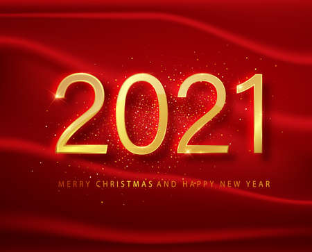 2021 Happy new year. Gold Numbers Design of greeting card on a red background. Gold Shining Pattern. Happy New Year Banner with 2021 Numbers on Bright Background. Vector illustration Ilustração