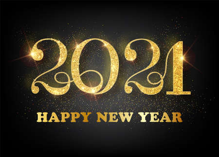 2021 Happy new year. Gold Numbers Design of greeting card. Gold Shining Pattern. Happy New Year Banner with 2021 Numbers on Bright Background. Vector illustration Ilustração