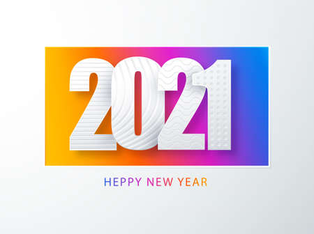 Happy new year 2021 cover Paper art cover design.. Happy new year 2021 text design vector. Creative 2021 logo design. Concept holiday card, poster, banner. Modern vector art.