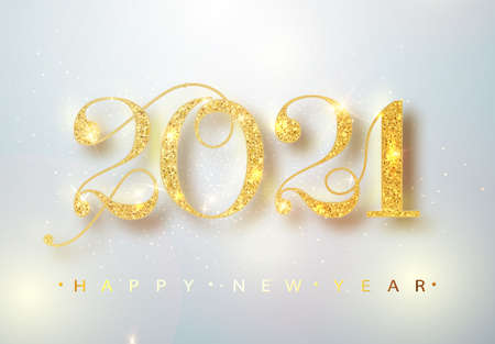 2021 Happy new year confetti falls. Gold Numbers Design of greeting card. Gold Shining Pattern. Happy New Year Banner with 2021 Numbers. Vector illustration