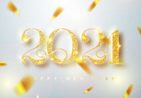 Happy New 2021 Year. Holiday vector illustration of golden metallic numbers 2021. Realistic sign. Festive poster or banner design Ilustração