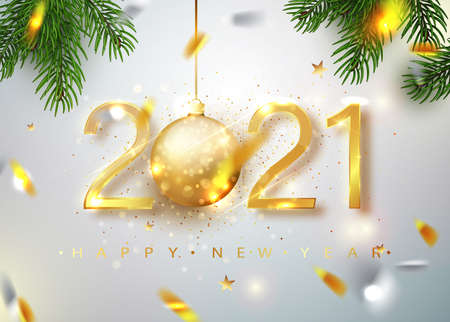 2021Happy new year. Gold Numbers Design of greeting card of Falling Shiny Confetti. Gold Shining Pattern. Happy New Year Banner with 2021 Numbers on Bright Background. Vector illustration. Ilustração