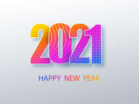 Happy 2021 new year colour banner in paper style. 2021 modern text vector design for your seasonal holidays flyers, greetings and invitations, christmas themed congratulations and cards. Ilustração