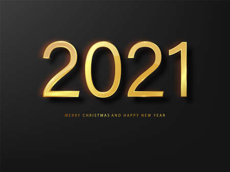 2021 Happy New Year greeting card gold and black background. Black New Year background. Cover of business diary for 2021 with wishes. Brochure design template, card, banner.