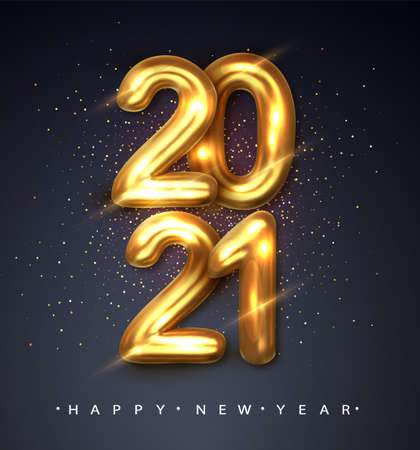 2021 Happy new year. Happy New Year Banner with gold metallic numbers date 2021. Dark background. Vector illustration