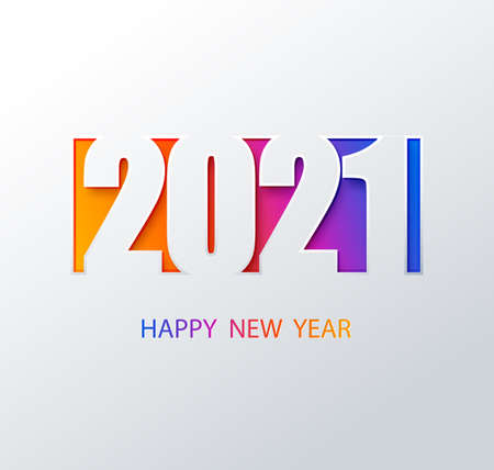 2021 color vector background. Happy new year 2021 color . Vector brochure or calendar cover design template. Cover of business diary for 2021 with wishes.