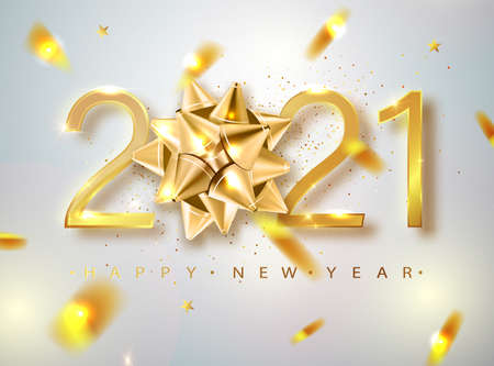 2021 Happy New Year vector background with golden gift bow, confetti, white numbers. Winter holiday greeting card design template. Christmas and New Year posters. Ilustração