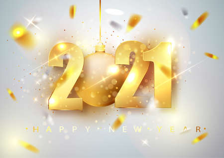 2021 Happy New Year. Holiday vector illustration. Gold Numbers Design of greeting card of Falling Shiny Confetti