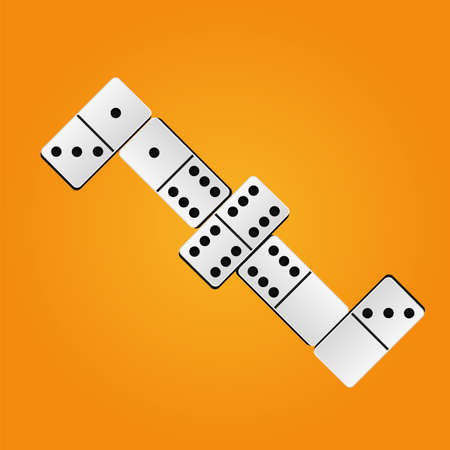 Creative vector illustration of realistic dominoes with on an orange background. Domino bone art design. Abstract concept