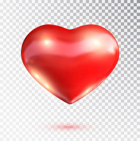 Red heart isolated on transparent background. Happy Valentine's day greeting template. Vector illustration.