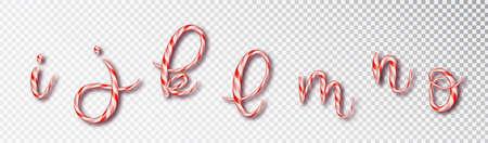 Christmas candy cane lettering. Font set with caramel letter - i, j, k, l, m, n, o . Sweet 3d alphabet isolated . Vector illustration 10 EPS. 矢量图像